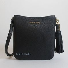 e3ec643fb8a1 Details about New Michael Kors Bedford Tassel Crossbody Black Navy Brown  35S7GBFC9L NWT