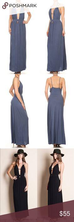 DAISY Open Back Maxi Dress - BLUE Deep plunge neckline maxi dress.   95% rayon, 5% spandex  Also available in black. Bellanblue Dresses Maxi