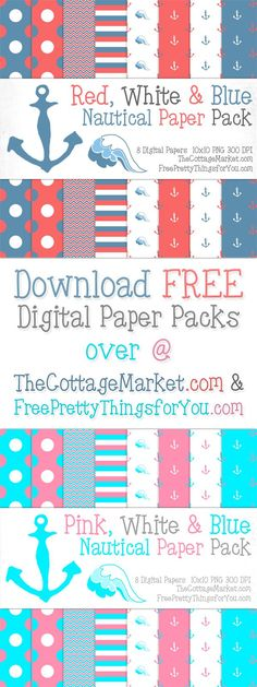 Free Nautical Digital Scrapbooking Paper Pack Part 1 - The Cottage Market