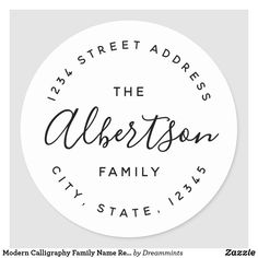 Custom-designed circular return address labels featuring personalized family name in modern hand calligraphy. Great for decorating envelopes, gifts, favors, and more! Size: inch (sheet of Gender: unisex. Custom Sticker Labels, Return Address Stickers, Custom Address Labels, Return Address Labels, Family Stickers, Decorated Envelopes, Label Templates, Addressing Envelopes, Label Design