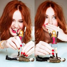 """Karen Gillian  from the article, """"What geekery is this?""""  As the article says, """"Nowthatis how you play with action figures."""""""