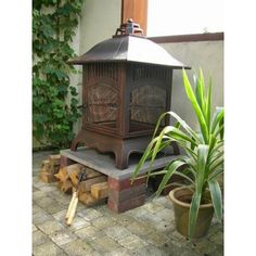 Middelgrote tuinhaard Pagode model met BBQ-rooster € 125,- Brick And Stone, Garden Projects, Bricks, Gazebo, Bbq, Home Appliances, Outdoor Structures, Wood, Fire Pits