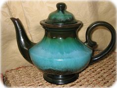 Blue Mountain Pottery Green Glaze Lidded Teapot Coffee Pot. This is absolutely beautiful! And would love to serve some Green Mountain coffee in it to my friends and family!