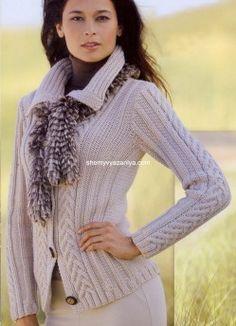 Жакет с вертикальными косами - Жакеты,полуверы, свитера