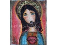Sacred Heart Jesus  Folk Art  Print from Painting 6 by FlorLarios, $15.00