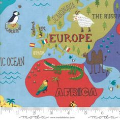 Hello World Map Sky Fabric Moda 35300 17 BTY One 1 by Jambearies