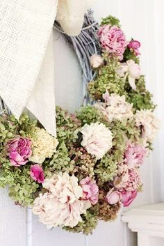 These great spring wreaths will freshen up your front door. Get ready for Easter and the spring season with these beautiful wreath ideas, including options you can shop and DIY. Wreath Crafts, Diy Wreath, Door Wreaths, Wreath Ideas, Dried Flower Wreaths, Dried Flowers, Hydrangea Wreath, Fresh Flowers, Peonies And Hydrangeas