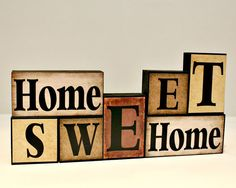 Home Sweet Home Wood Block - Wooden Letter Blocks - Real Estate Closing Gift - Mantle Decorations - Gifts for Home - Shelf Sitter Blocks 2x4 Crafts, Wood Block Crafts, Scrap Wood Projects, Wooden Crafts, 3d Projects, Vinyl Projects, Wooden Blocks, Wooden Letters, Wooden Signs