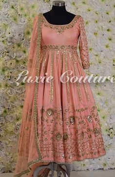 Peach raw silk anarkali with full hand embroidery. This piece can be made in any color 💥 For any other price inquiries please email… Indian Gowns, Indian Attire, Indian Outfits, Punjabi Suits Designer Boutique, Indian Designer Suits, Ladies Suits Indian, Indian Dresses Traditional, Latest Bridal Dresses, Embroidery Suits Design
