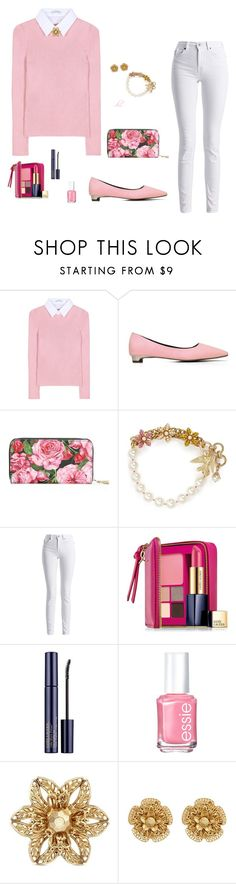 """Pink"" by dmiddleton ❤ liked on Polyvore featuring Altuzarra, Dolce&Gabbana, Miriam Haskell, Barbour International, Estée Lauder and Essie"