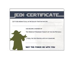Instant dl jedi knight certificate star wars birthday for Star wars jedi certificate template free