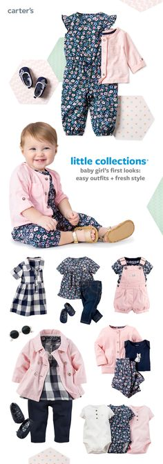 Match her little personality with sweet style. Easy outfit sets, a peacoat, multi-pack bodysuits + little extras! Plus, what's not to love about pink and navy gingham?