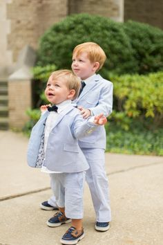 Ring Bearer Seersucker Suit and Bow Tie