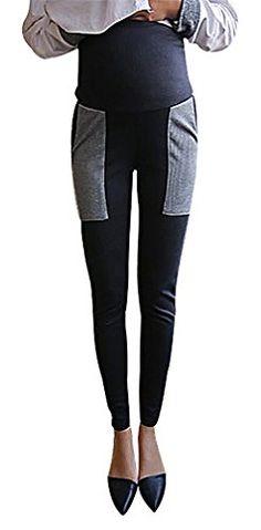 096ed27d6829c USR Womens Black Contrast Panels Maternity Secret Fit Belly Long Skinny Pants  Black 8 ManufacturerXL >