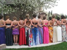 Cute picture idea!! Gonna remember this for prom! But instead of just keeping your hands to the side, you can hold the hands of the other girl. :) super cute