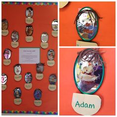 Mirror Self Portraits.  The children looked at their reflections, noticing the different characteristics and the uniqueness of their faces. They chose from a variety of collage materials for their hair and chose the paint that closest matched their skin. They painted their faces as they saw them.