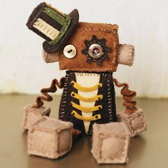 Steampunk Felt Robot Plush Doll with Vintage Buttons via Etsy
