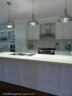 WITH A LITTLE IMAGINATION: White Kitchen, Subway Tile, Pendant Lights, Shaker Style Cabinets