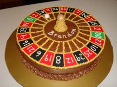 Roulette Wheel - This was a chocolate cake with chocolate buttercream. The red & blk are fondant as well as center piece and wht ball. The rest is BC and gold dragees