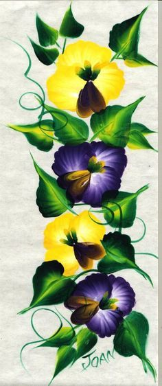 Donna Dewberry Free Patterns | One Stroke Vibrant Flowers course...students learn pansies.