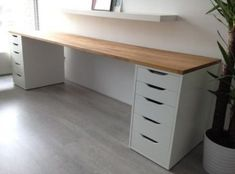 """Great Photographs IKEA HACK by meghan - Office Desk - Ideas for Office Desk - IKEA HAC . - New Ideas Strategies A """"concept"""" operates through the Websites and pages of this network earth: Ikea Hacks. Mesa Home Office, Home Office Space, Home Office Desks, Office Decor, Office Ideas, Diy Office Desk, Bedroom Office, Decorating Office, Basement Office"""