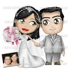 Caricatura para casamento - Noivos Josy e Adriano - noivinhos cuttie