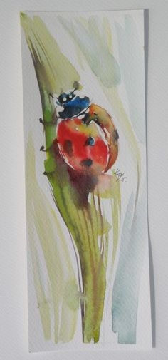 ARTFINDER: Ladybird II by Kovács Anna Brigitta - Original watercolour painting on high quality watercolour paper. I love landscapes, still life, nature and wildlife, lights and shadows, colorful sight. Thes...