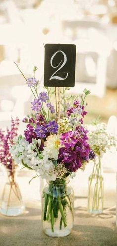 Hottest 7 Spring Wedding Flowers to Rock Your Big Day--sweat peas Floral Wedding Table Number Centerpieces Blush Wedding Flowers, Wedding Table Flowers, Wedding Table Numbers, Purple Wedding, Wedding Bouquets, Trendy Wedding, Wedding Ideas, Floral Wedding, Wedding Dresses