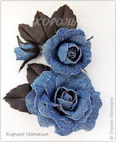 Part Gifts: jeans set. Denim Flowers, Burlap Flowers, Leather Flowers, Lace Flowers, Felt Flowers, Fabric Flowers, Blog Couture, Creation Couture, Flores Denim