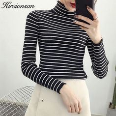 63b15a4d4a Hirsionsan Women Sweaters and Pullovers 2017 Autumn Winter Striped Jumper  Knitted Turtleneck Sweaters Slim Basic Tops Pull Femme-in Pullovers from  Women's ...