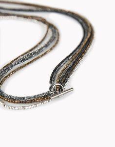 Hematite necklace; Brunello Cucinelli. 154 cm