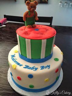 Corduroy bear baby shower cake - www.KellysCakery.com