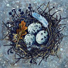 Blue Nest Art Print by Rachelle Dyer - X-Small Flying Bird Silhouette, Bird Drawings, Drawing Trees, Animal Drawings, Bird Illustration, Bird Pictures, Bird Prints, Bird Art, Art Blog
