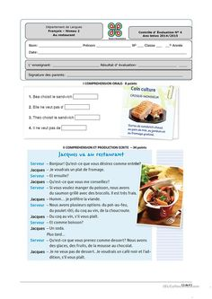 Risultati immagini per restaurant FLE Food In French, French Cafe, French Phrases, French Words, French Teacher, Teaching French, High School French, French Worksheets, Learning