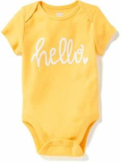 The baby girl clothes collection at Old Navy has all the latest styles and essentials for your baby girl including onesies, PJs, and playsets. Baby Girl Onsies, Baby Shirts, Baby Boy Outfits, Newborn Outfits, Baby Mine, Baby Vest, Toddler Fashion, Kind Mode, Cute Babies