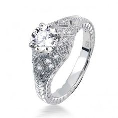 Sterling Silver CZ Solitaire Vintage Deco Style Dome Set Engagement Ring
