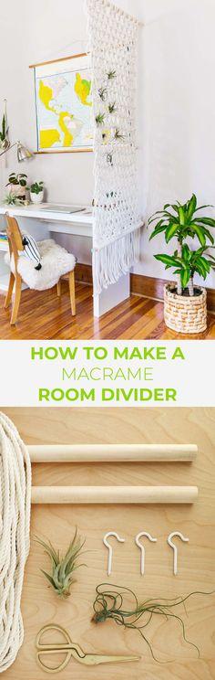 Macrame room divider DIY
