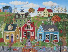 Pumpkins on Pebble Lane ORIGINAL Folk Art by KimsCottageArt