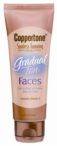 Coppertone Sunless Tanning Gradual Tan, Faces, 2.5 FL OZ (74ml) by Coppertone Gradual Tan. $13.99. Dries Quickley and Won't Clog Pores. Moisturizing Lotion. Dermatologist Tested. Contains Vitamin E. A hint of Color Day by Day. Brand New! Coppertone Sunless Tanning Moisturizing Lotion Gradual Tan Faces . Fast Shipping!