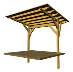 """Take a good look at this beautiful cantilevered timber frame pavilion supported by two 6"""" posts, each with two asymmetrical knee braces. Pergola Ideas, Diy Pergola, Outdoor Pergola, Gazebo, Pergola Cover, Deck With Pergola, Pergola With Roof, Wooden Pergola, Building A Pergola"""
