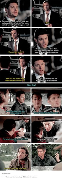 11x05 Thin Lizzie [gifset] - This is why Sam is in charge of delivering the bad news - Sam and Dean Winchester; Supernatural