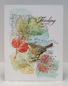 Beautifully layered collage card using stampin Up Work of Art as watercolour background.