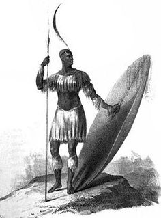 """Sketch of King Shaka (1781 - 1828) from 1824. Attributed to James King, it appeared in Nathanial Isaacs' """"Travels and Adventures in Eastern Africa"""", published in 1836."""