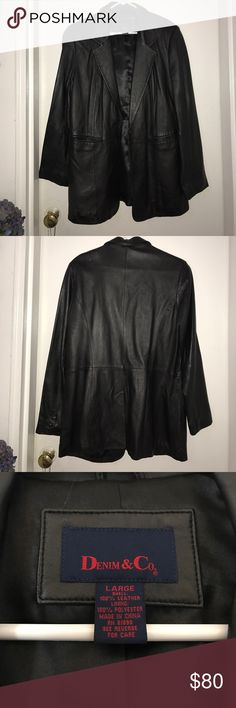 Denim & Co Black Leather Jacket In great condition!! No tears, scratches or scuff marks. Will bundle with other items! Please use offers feature to negotiate! Denim & Co Jackets & Coats