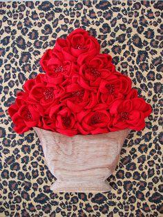 Quadro de chita com flores vaso madeira   Flickr – Compartilhamento de fotos!