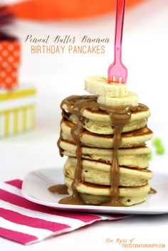 Peanut Butter Banana Pancake Recipe | Kim Byers, TheCelebrationShoppe.com