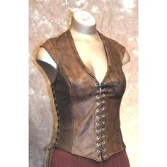 Bodice Archers Leather Corset ❤ liked on Polyvore featuring costumes, womens costumes, cosplay costumes, renaissance festival costumes, womens pirate costume and women warrior costume