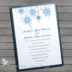Snowflake Winter Layered Wedding Invitations