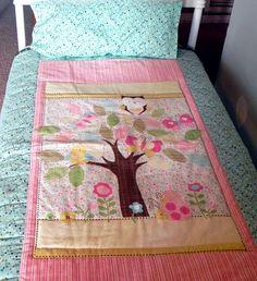 Owl Toddler Bedding Set  Girls Colorful Panel by SeasonsofLoveBtq, $100.00