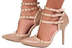 Lime Lush Boutique - Polished Nude Pump with Tan Studded Straps, $46.99 (http://www.limelush.com/polished-nude-pump-with-tan-studded-straps/)